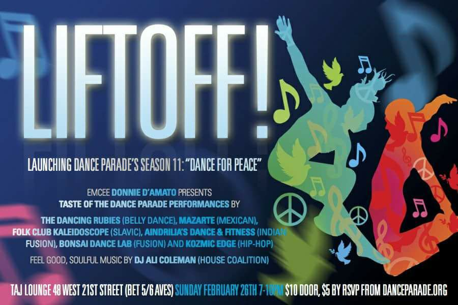 Dance Parade New York Season 11 Lift Off Sunday, February 26th at Taj Lounge!